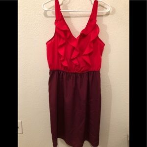 Pink and burgundy ruffle top dress